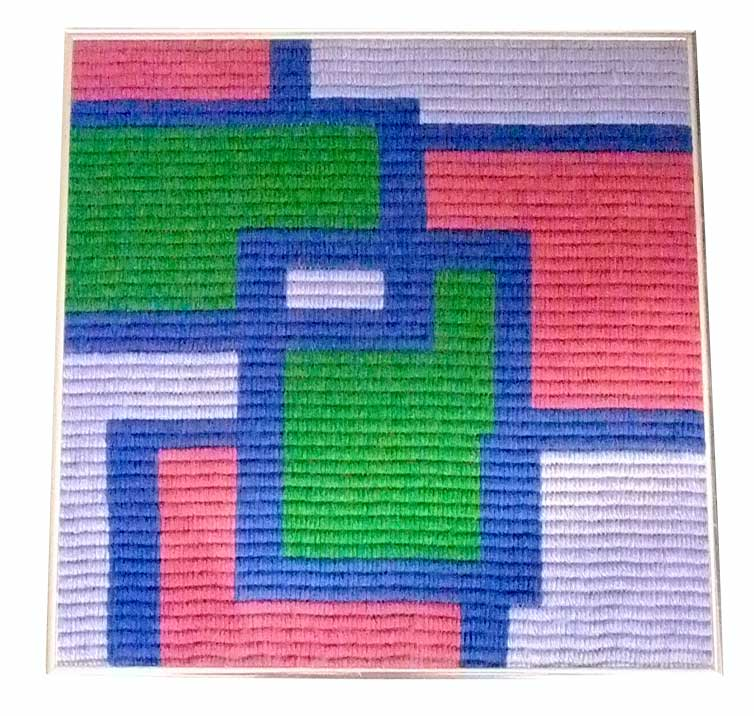 Sold - Modern Abstract Needlepoint in Brushed Aluminum Frame ...