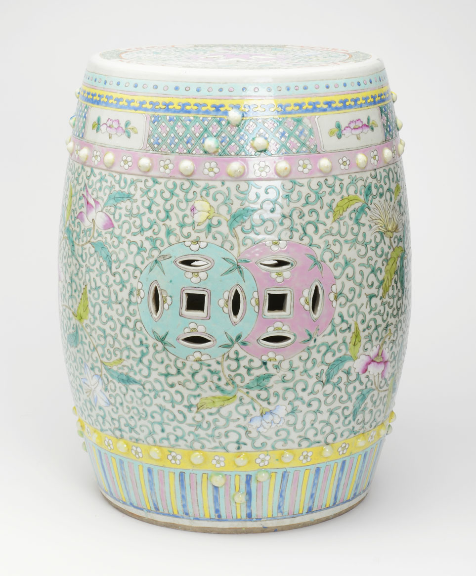Captivating Antique Yellow And Seafoam Green Garden Stool