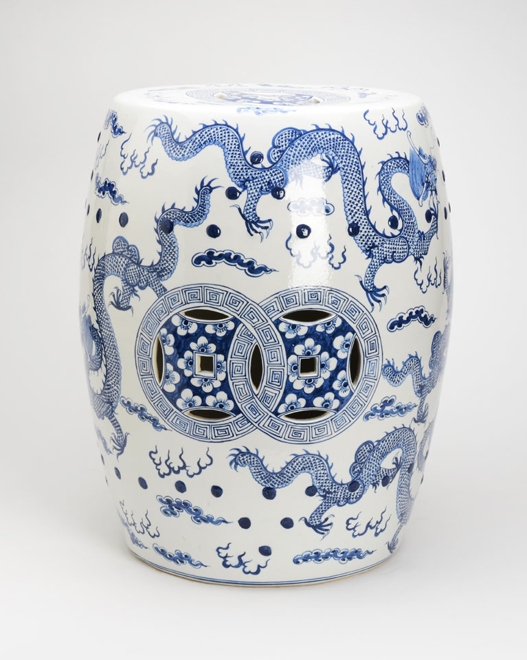 Blue And White Garden Stool With Images Of Dragons