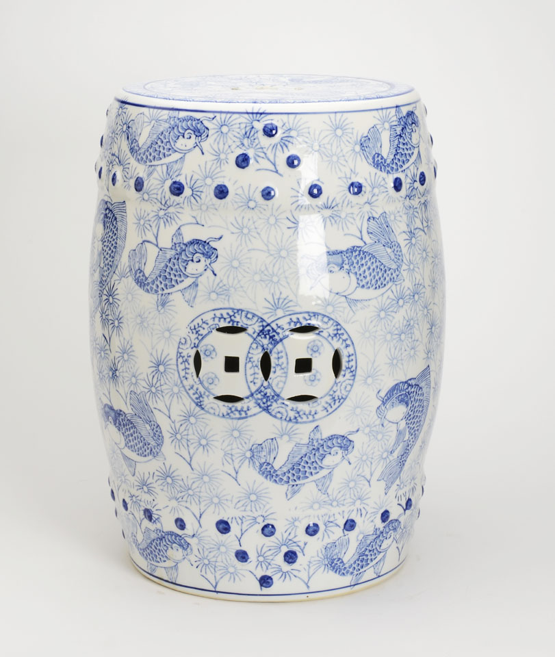 Blue And White Garden Stool With Images Of Fish