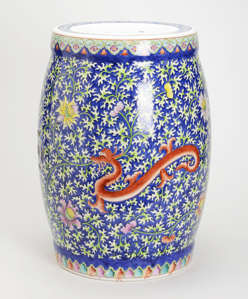 Blue And Multicolored Asian Garden Stool With Orange Dragon