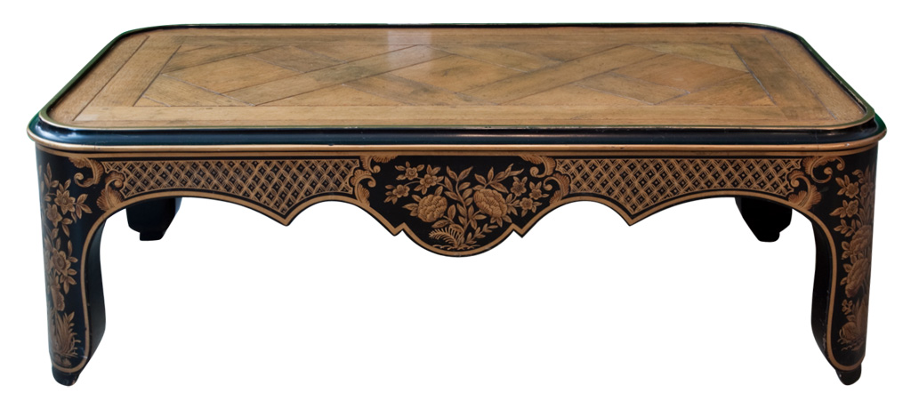 Baker Small Black And Gold Painted Coffee Table With Walnut Parquet Top