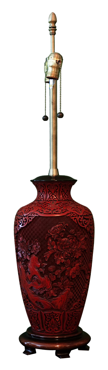 Sold Marbro Lamp Chinese Style Carved On Wood Base Table Lamp