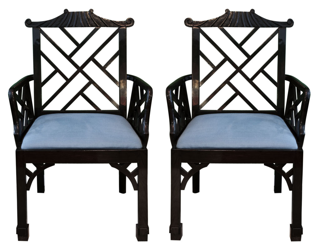 Superieur Pair Of Lacquered Chinese Chippendale Style Arm Chairs