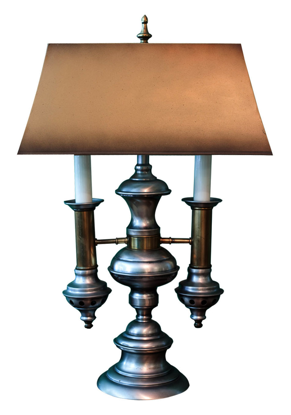 Victorian Revival Desk Lamp In Pewter Finish With Tole Shade