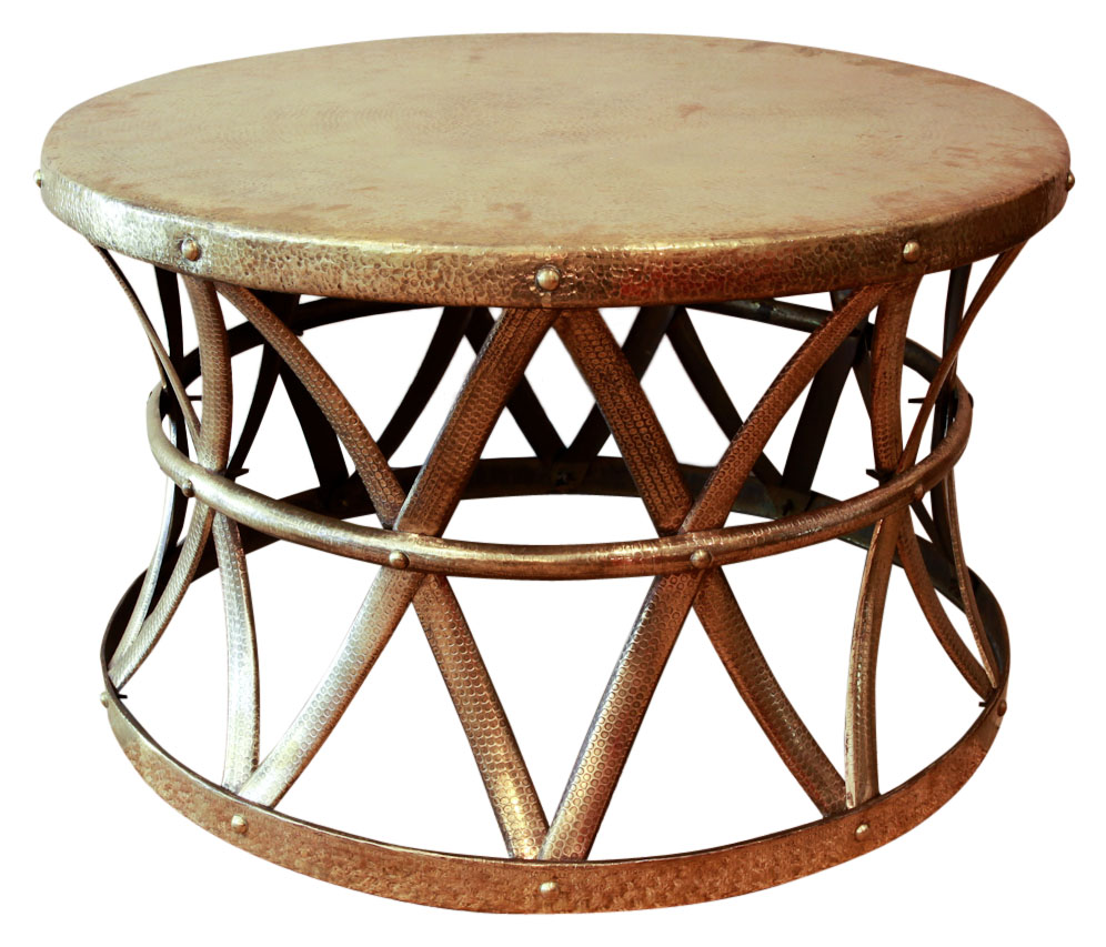 Sold Vintage Hammered Brass Drum Coffee Side Table Rubbish - Brass drum side table