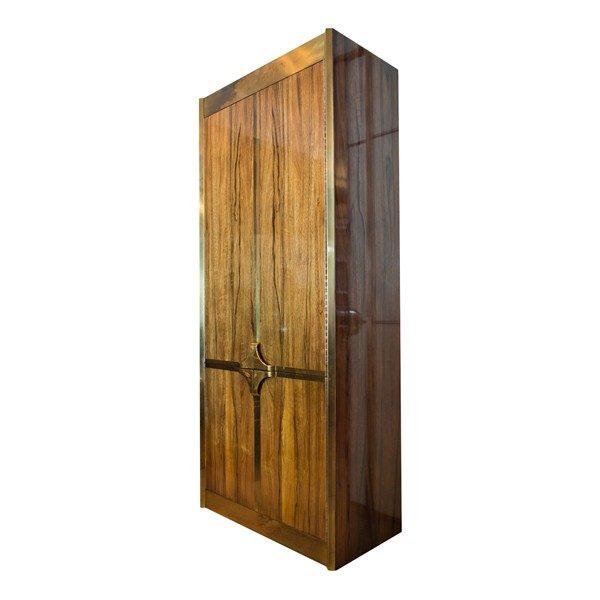 Mastercraft Walnut And Brass Modern Armoire / TV Cabinet