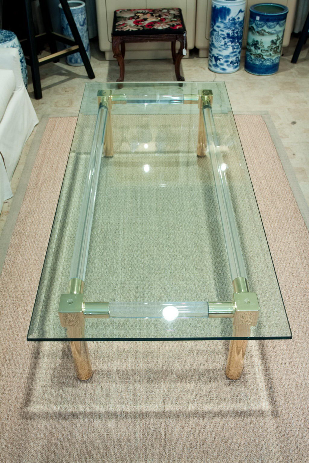 Beau Lucite And Gold Plate Coffee Table Beveled Glass Top