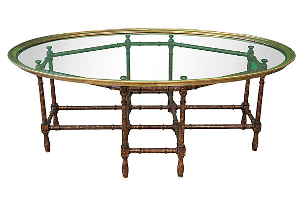 Baker Oval Brass, Glass And Faux Bamboo Coffee Table
