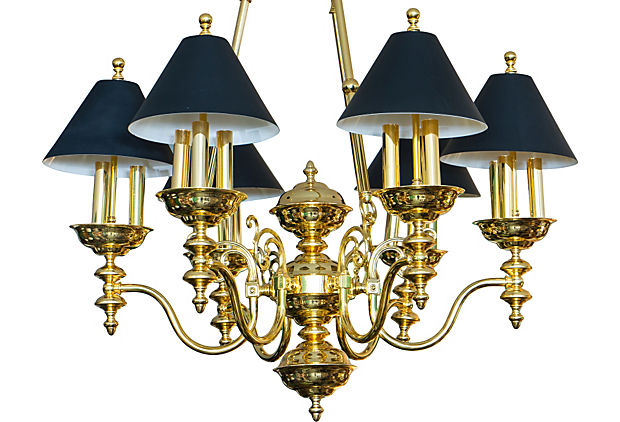 Sold victorian style brass chandelier with black shades rubbish victorian style brass chandelier with black shades aloadofball Images