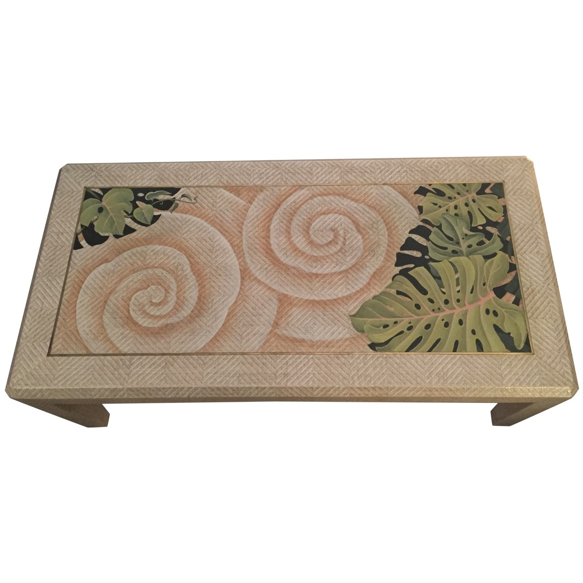 VINTAGE Hand Painted Coffee Table With Brass Inlay U2013 9326
